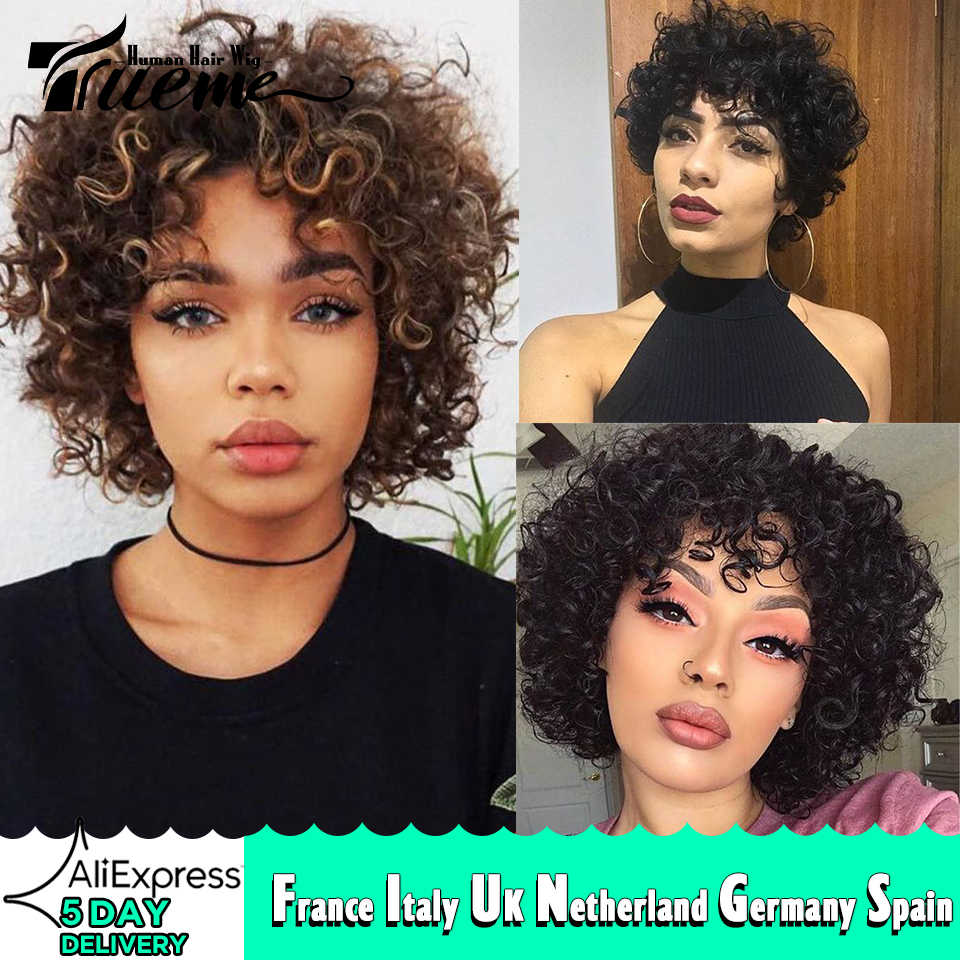 Trueme Short Loose Curly Human Hair Wigs 100 Brazilian Remy Hair Full Wig For Women Ombre Mix Red Brown Blonde Cheap Wigs Full Machine Wigs Aliexpress
