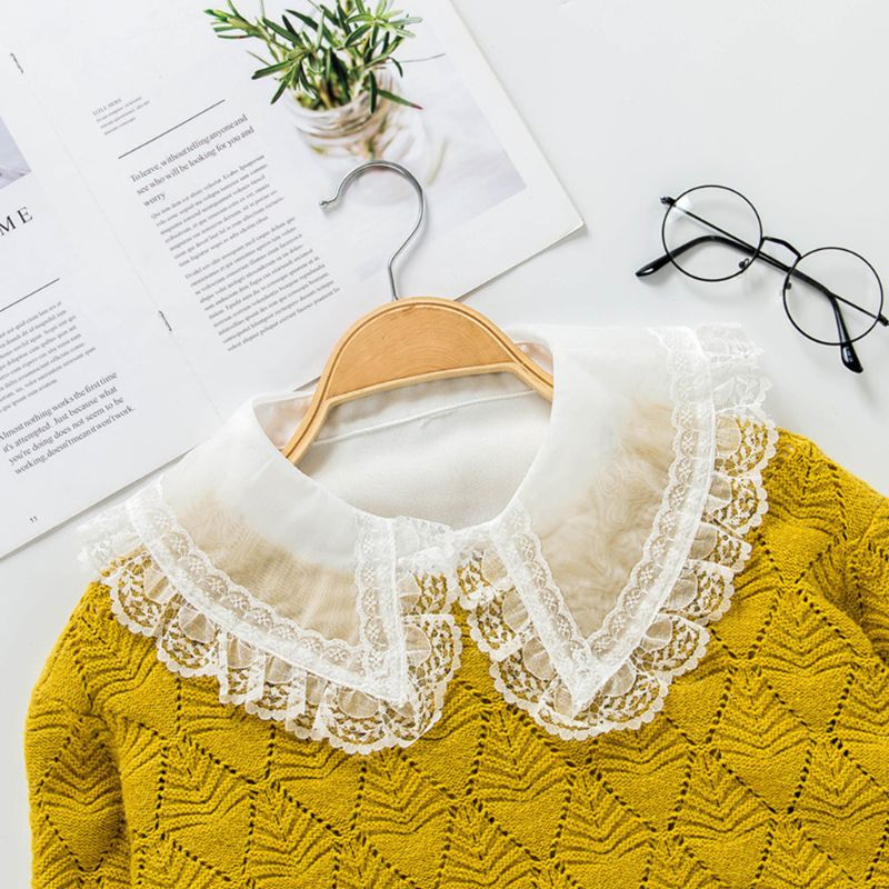 Korean Women Chiffon False Fake Collar Transparent Hollow Scalloped Lace Lapel Detachable Half Shirt Blouse Clothing Accessory