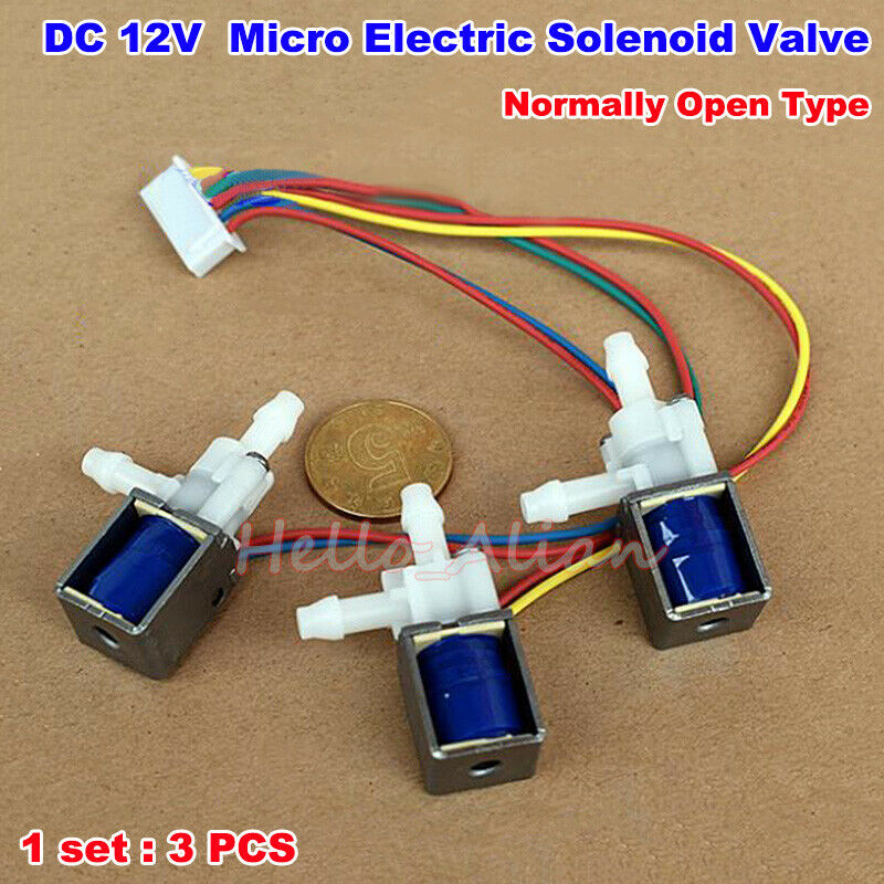 1set 3pcs DC 12V 1-Way 2-Position Normally Open Micro Electric Solenoid Valve Air Gas Pump