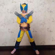 Filme de ferro lobo traje crianças super herói cosplay festa fantasia vestido crianças aniversário super herói vestido com máscara de luz
