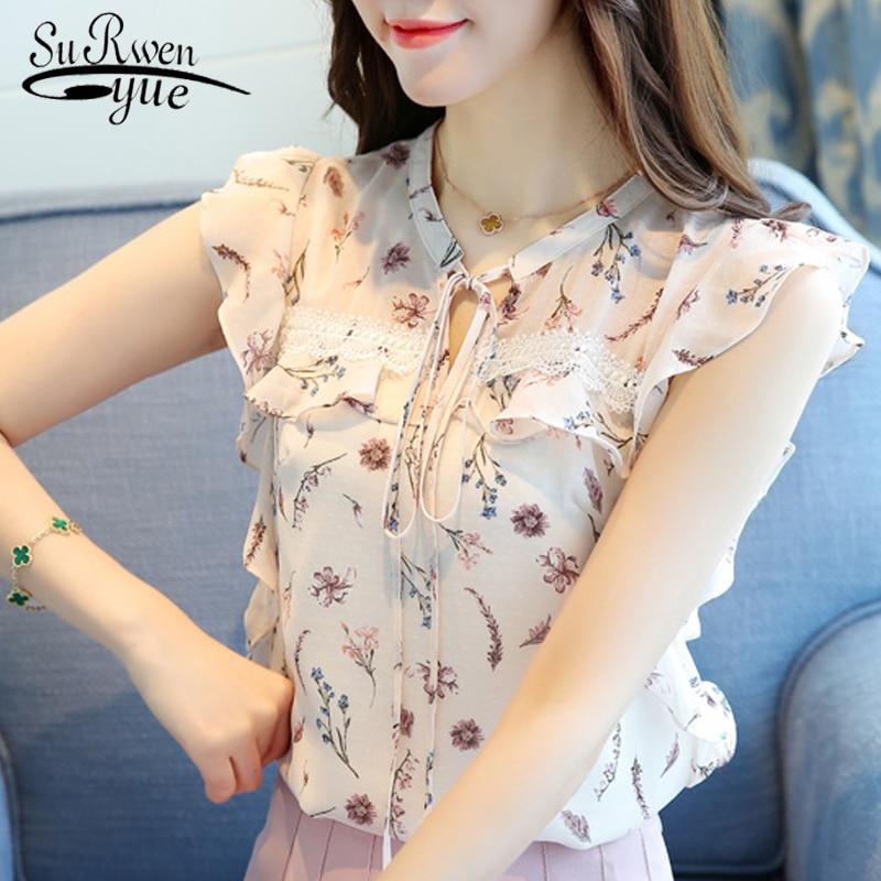 2019 Fashion Summer Women Blouse Shirt Sleeveless Print Chiffon Women Tops Blusas Plus Size Women's Clothing Tops Blusas 0026 30