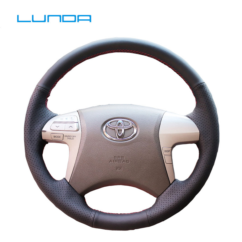 LUNDA Black Artificial Leather <font><b>Car</b></font> Steering <font><b>Wheel</b></font> <font><b>Cover</b></font> for <font><b>Toyota</b></font> Highlander 2009-2014 Camry 2007-2011 special Hand-stitched image