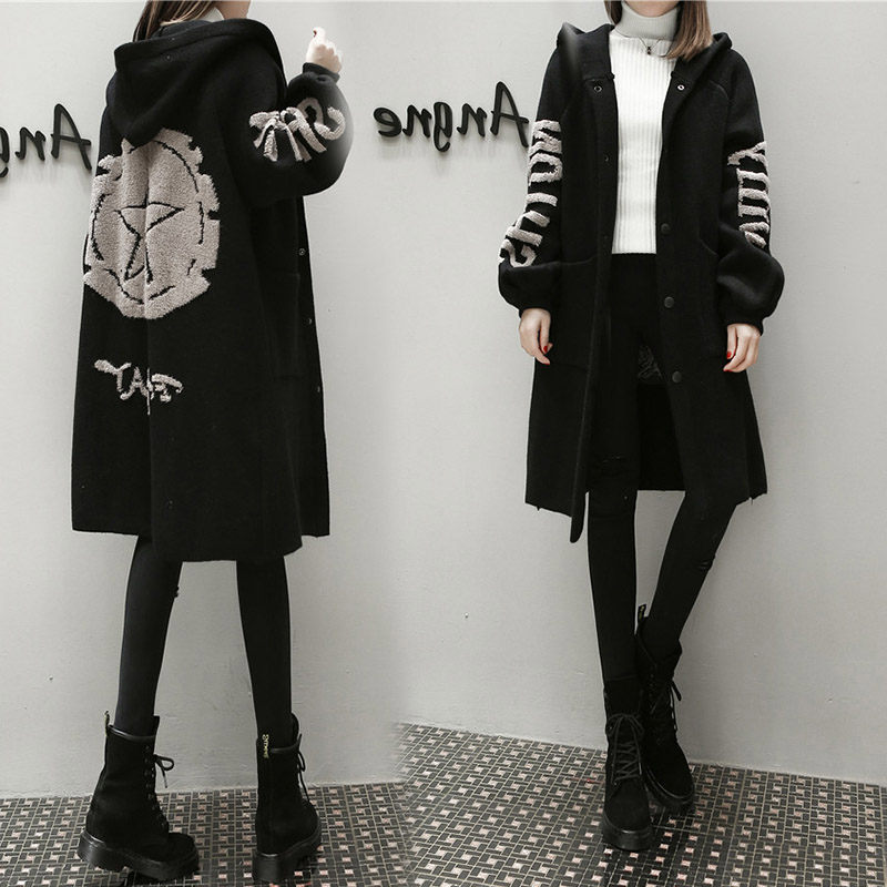 New Plus Size Woolen Cardigan For Women Long Loose Knitted Trench Coat Casual Hooded Casaco Feminino Print Sweater Coats F1449