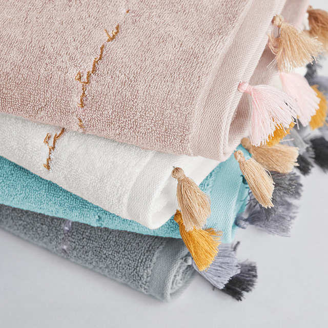 Towel Cotton 35*77cm 120g Adult Face Towel Candy Color Tassel Plain Towel Soft Embroidered Washcloth