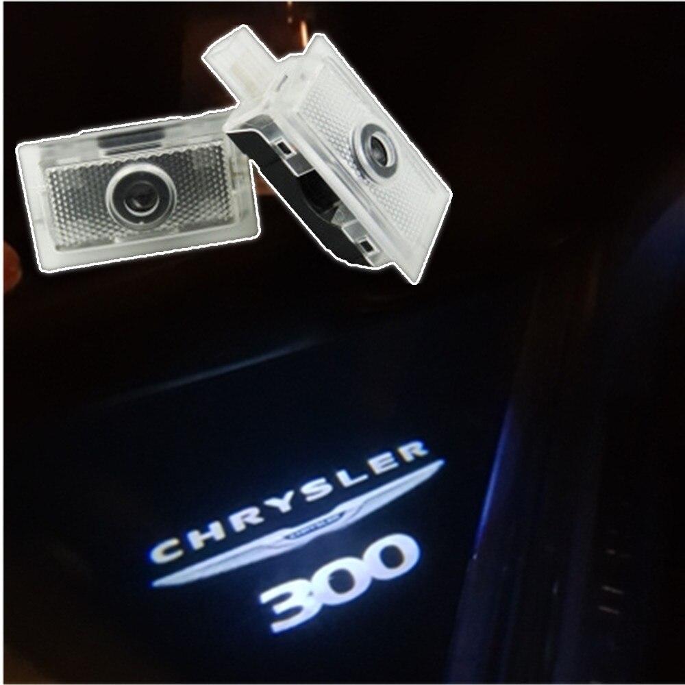 Led luzes de advertência da porta do carro para chrysler 300 300c 200 200c sebring lancia thema laser logotipo projetor decorativo lâmpada acessórios