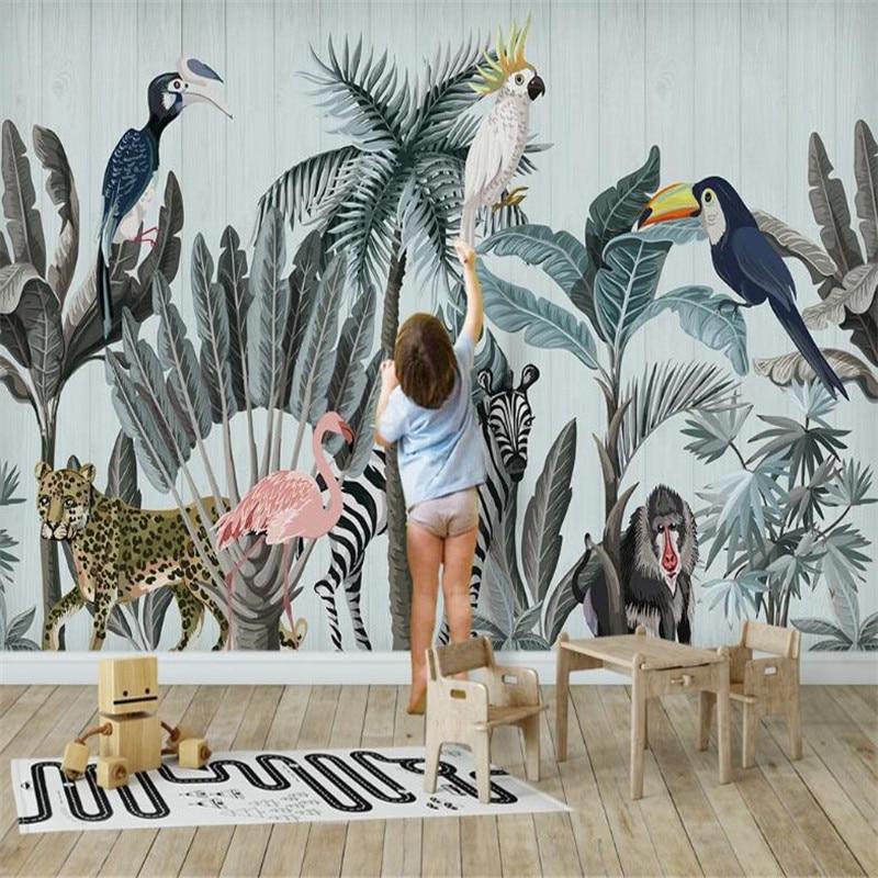 Wallpaper Mural Custom Nordic Flamingo Tropical Plant Background Wallpaper Mural