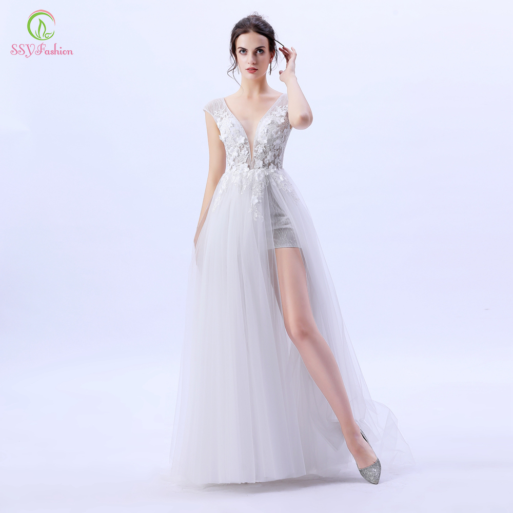 SSYFashion New Evening Dress Sexy White V-neck Sequins Beading Lace Flower High-split Backless Formal Party Gowns Robe De Soiree