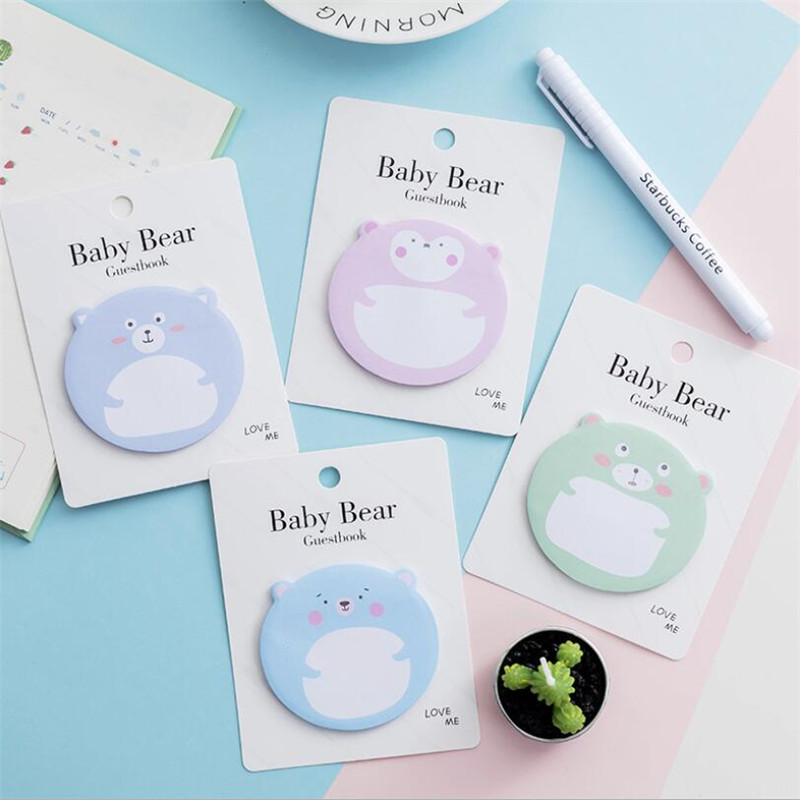 Korean Animal Sticky Notes Creative Planner Notepad DIY Memo Pad Office Supplies School Stationery 4 Colors