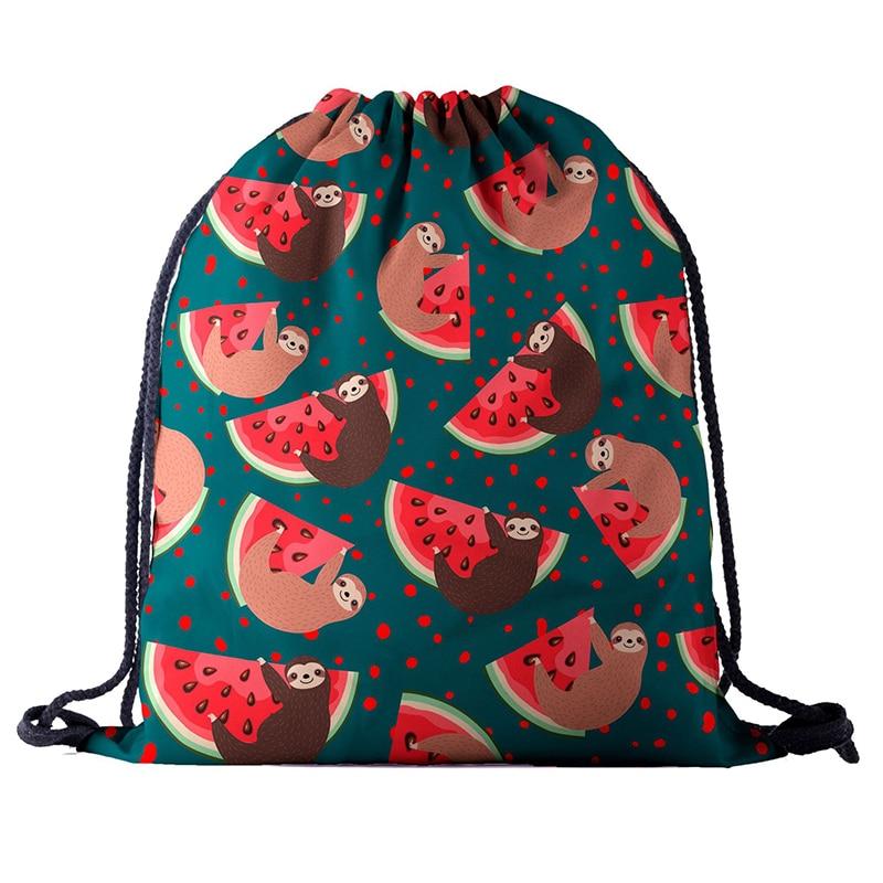 Watermelon Backpack Drawstring BAGS Drawstring Fashion 3D Printing Travel Softback Men Bags UNISEX Women's Shoulder Bag Knapsack