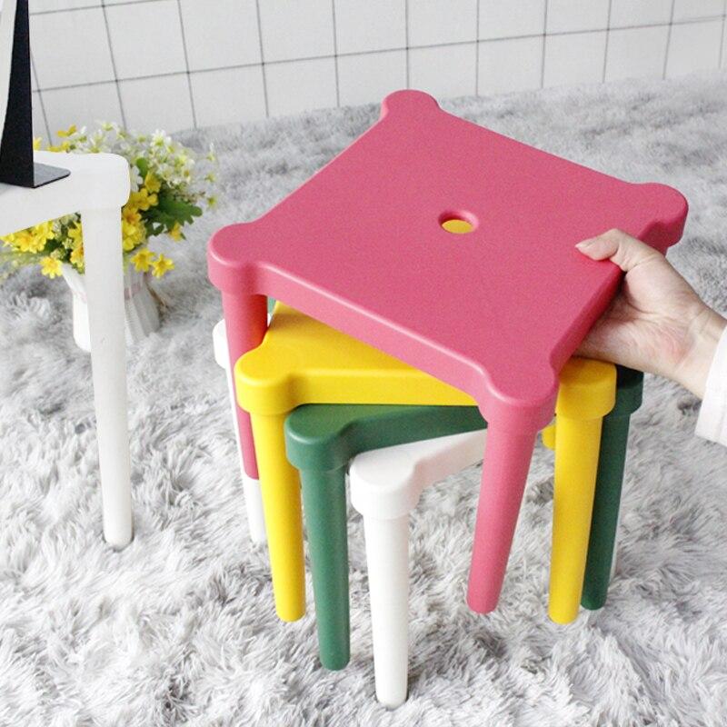 детский стул табурет кухонный Economical Plastic Non-slip Stool Low Stools Square Children's Chair Set For Household Furniture