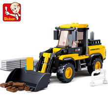 Sluban 212Pcs Truck Blocks Forklift SimCity building blocks DIY Construction vehicles Creative bricks Toys for children купить недорого в Москве