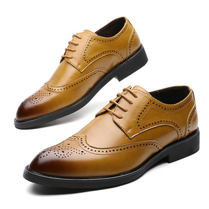 Image 1 - Men Dress Shoes Brogue Style Paty Leather Wedding Men Flats Leather Oxfords Formal Shoes