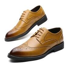 Zapatos de vestir para hombre, estilo Brogue, Paty, zapatos formales Oxford de cuero planos para boda
