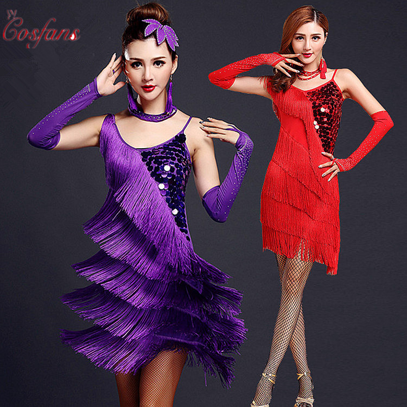 Tango Adult Red Latin Dance Costumes Women Salsa Dancewear Dance Costume Dresses Fringe Gold Sequin Professional Latin Dance