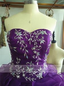 Image 4 - Bez rękawów potargane fioletowe sukienki z organzy Quinceanera musujące suknie na Quinceanera