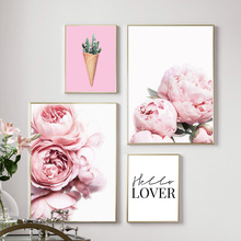 Pink Flower Peony Cactus Wall Art Print Canvas Painting Nordic Poster And Prints Pictures For Living Room Home Decor