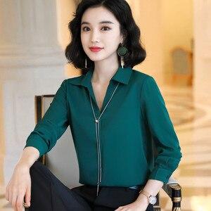Image 3 - Blusa de chifón informal con manga larga para otoño, camisa con fruta verde para mujer, cuello de pico, para oficina, trabajo de negocios