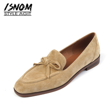 ISNOM Suede Loafers Women Slip On Butterfly Knot flats shoes Genuine Leather Ballets Flats Shoes for women Moccasins