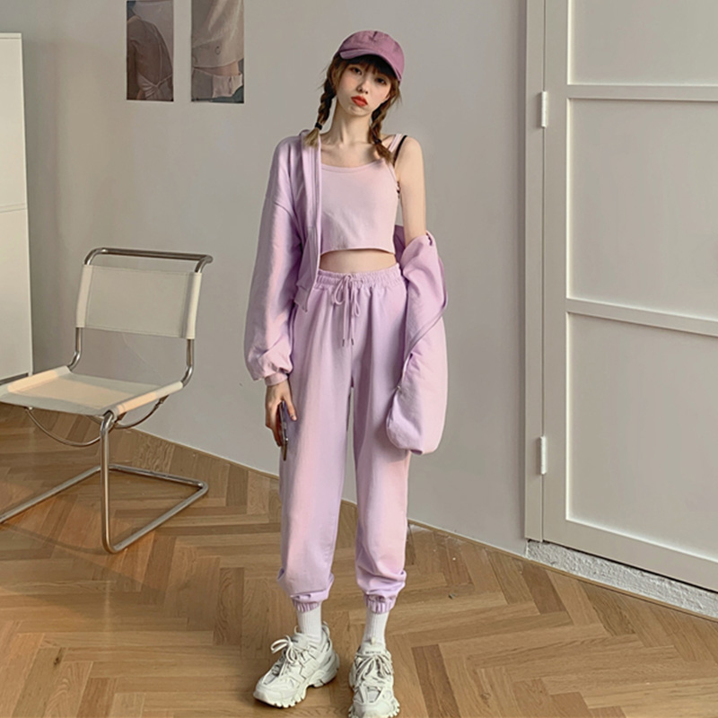 Spring Summer Sport Set Women Clothing Tracksuit Lilac Pants+Camisole Crop Top+Hooded Jacket 3 Pcs Suit Loose Hoodies Sweatshirt