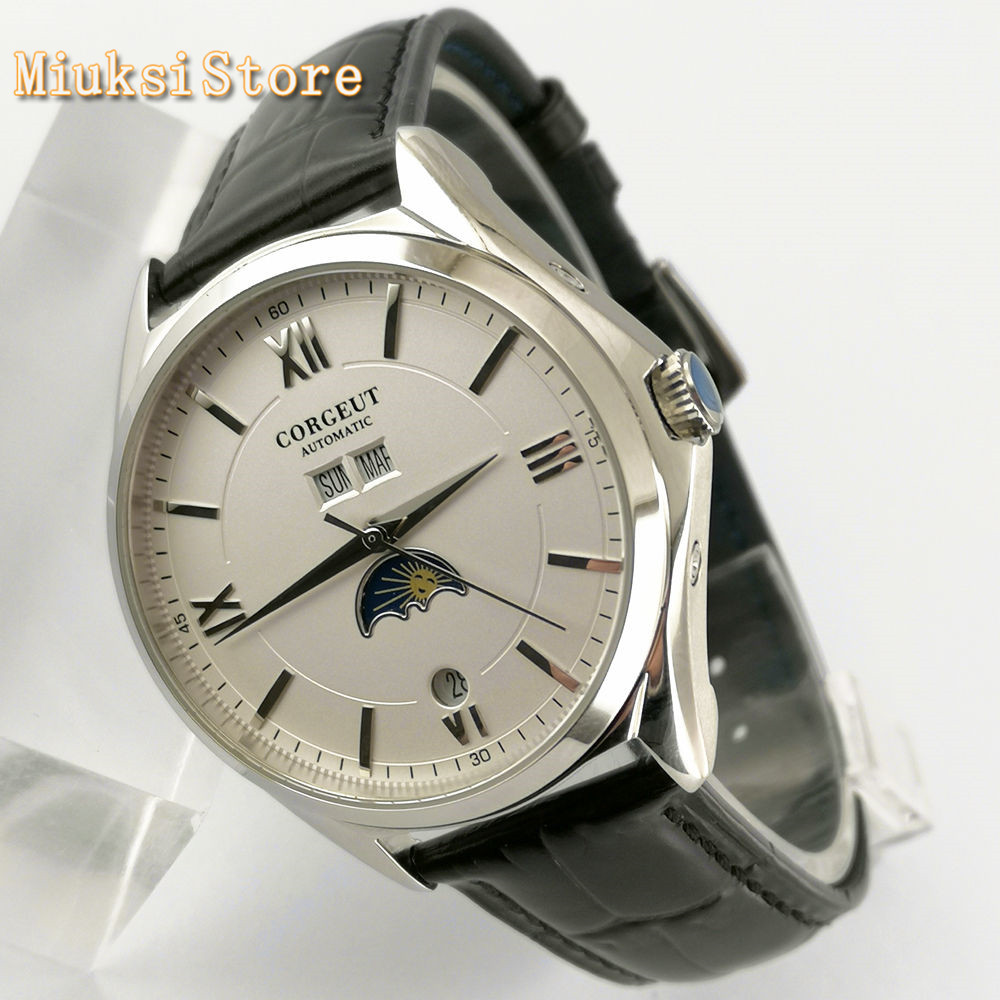 Corgeut new 41mm mens top luxury watches silver case white dial date leather strap seagull movement automatic mens watch