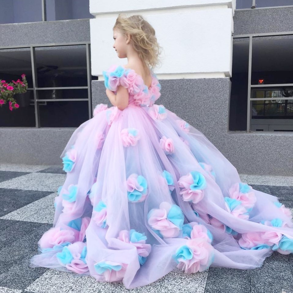 3D Flower Girls Flower Girls Dress Party Dresses Cinderella Ball Gowns Off Shoulder Birthday Pageant Party Dresses