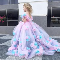 3D Flower Girls Flower Girls Dress Party Dresses Ball Gowns Off Shoulder Birthday Pageant Party Dresses