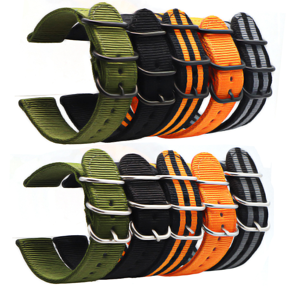 6 цветов браслет NATO нейлоновый ремешок черная пряжка 18 мм 20 мм, 22 мм 24 мм ремешок для часов samsung gear S3 Frontier S2