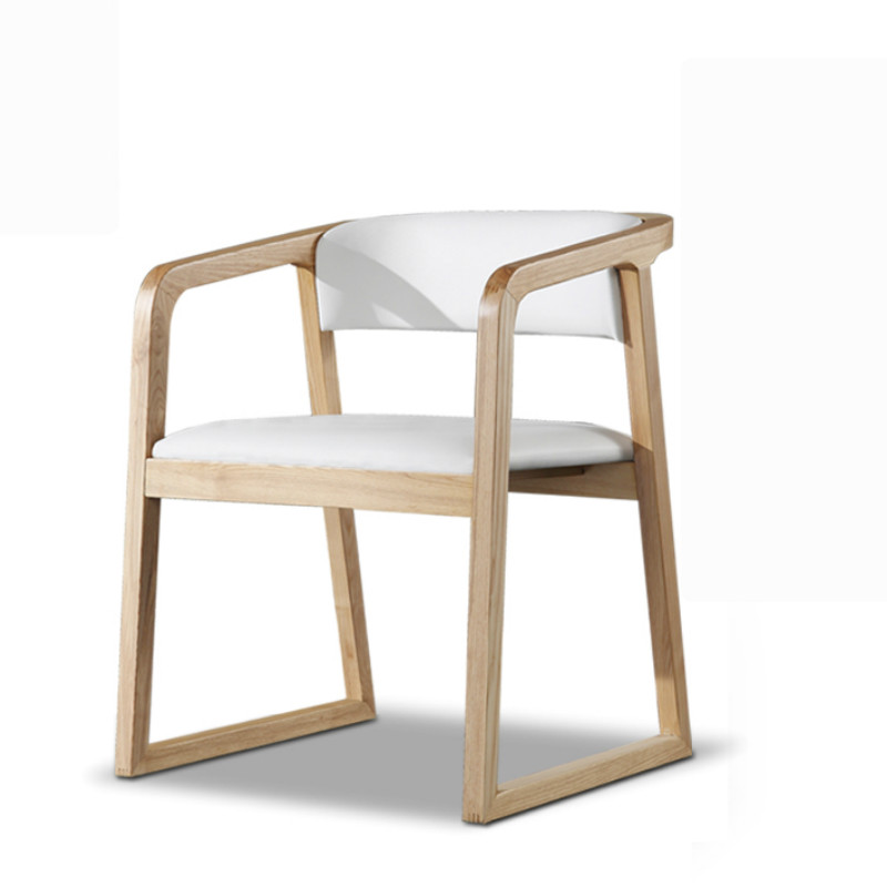 Nordic Solid Wood Dining Chair Modern Minimalist Hotel Restaurant Armrest  New Chinese Style Office
