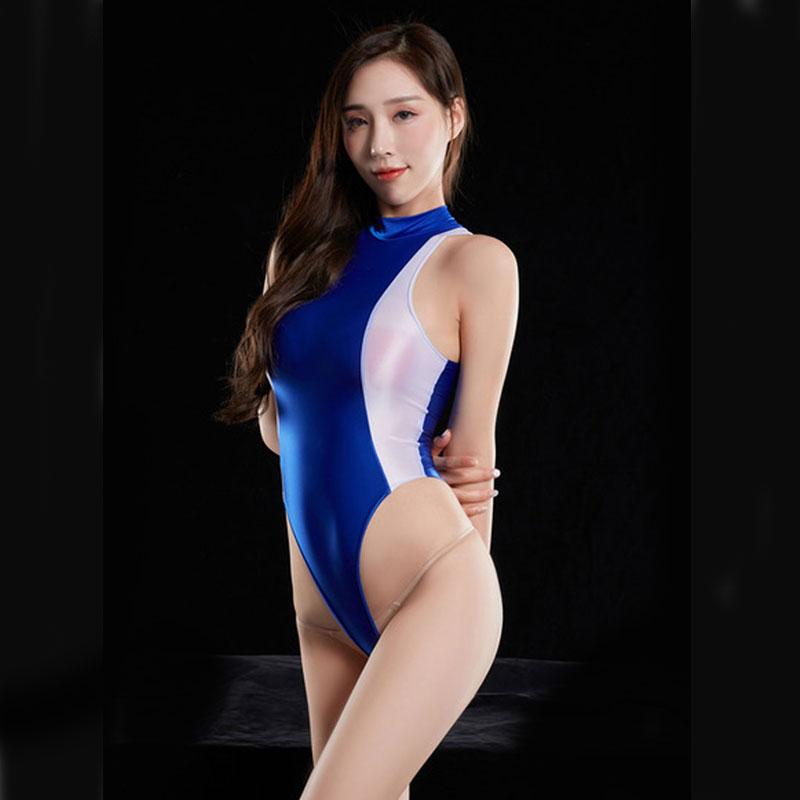 Sexy Shiny Japanese Swimwear HIgh Cut Bodysuit Patchwork One Piece Swimsuit Thong Sexy Tight T Crotch Swimwear Monokini 27