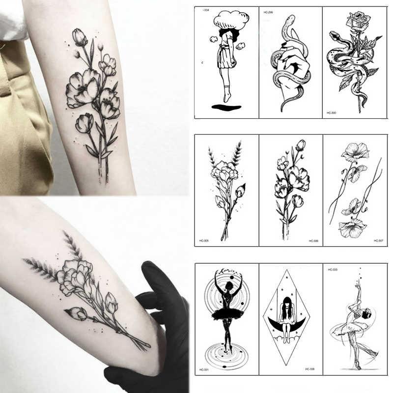 1 PC Geometrica Pianeta Donne di Modo Autoadesivo Del Tatuaggio Temporaneo Nero Rose di Disegno Del Fiore Del Corpo Del Braccio di Arte di Grandi Dimensioni Falso Autoadesivo Del Tatuaggio