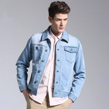 light blue 2020 turn down collar single breasted pockets jean for men Stretch denim casual jacket male(China)