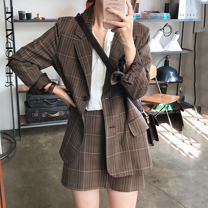 SHENGPALAE Chic Autumn Lapel Suit Loose Coat + High Waist Skirt Short Skirt Safari Style 2019 Women Two Piece Outfits FT324