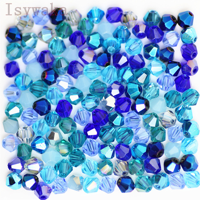 Isywaka U Choice 100pcs 4mm Bicone Austria Crystal Beads charm Glass Beads Loose Spacer Bead for DIY Jewelry Making