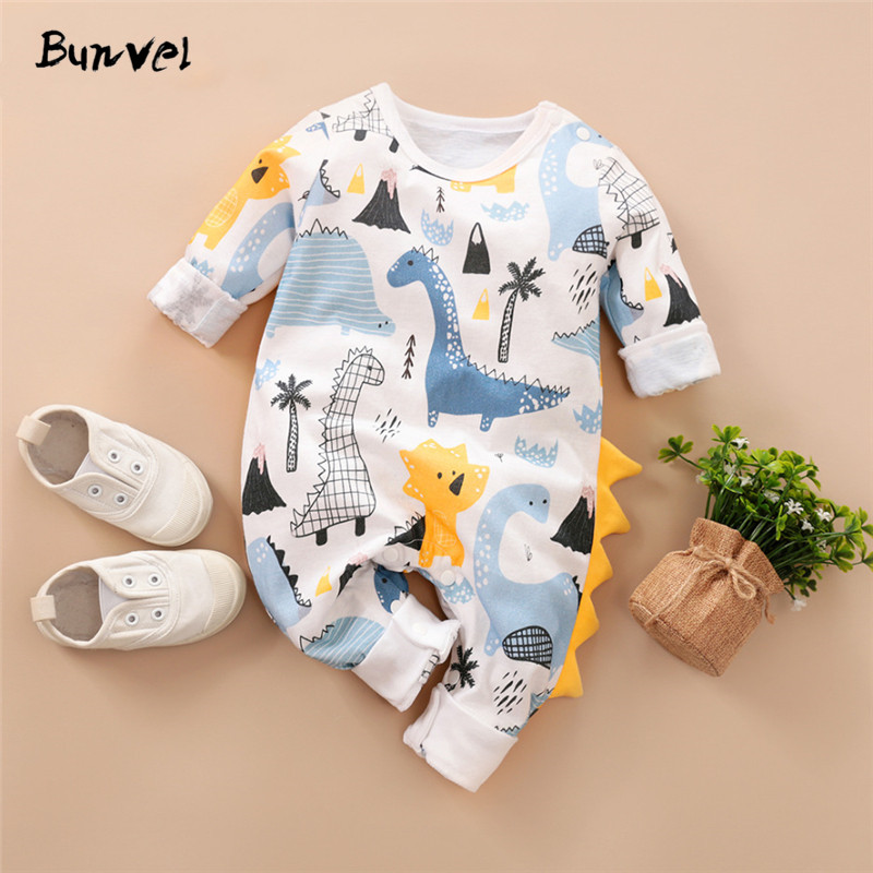 Bunvel Boys Rompers Kids Romper Summer Spring 0-12M Age Infant Dinosaur Printing Toddler Newborn Outfits Baby Boys Clothes 2020