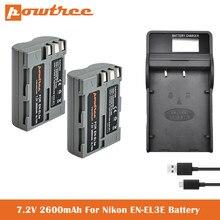 Batterie et chargeur 7.2V 2600mAh, pour appareils photo numériques Nikon D50, D70, D70s, D80, D90, D100, D200, D300, D300S, D700 D900 L