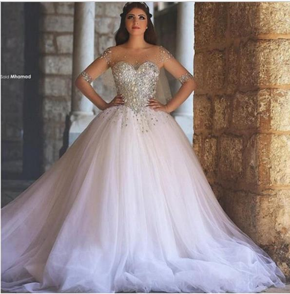 In Stock Wholesale/retail 100% Guarantee Vestidos De Noiva 2015 New Ball Gown Beading Full Sleeves Wedding Dress Robe De Mariage