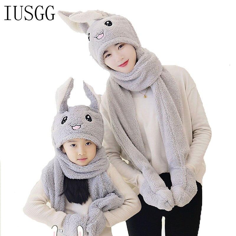 Adult Kids 3 In 1 Plush Hat Cute Long Rabbit Ear Hat Gloves Scarf Kawaii Airbag Moving Jumping Ears Funny Dance  Earflap Cap