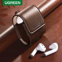 Caso ugreen para airpods 2 1 caso acessórios de fones de ouvido de couro corda anti-perdida capa de fone de ouvido de proteção para apple pods de ar caso