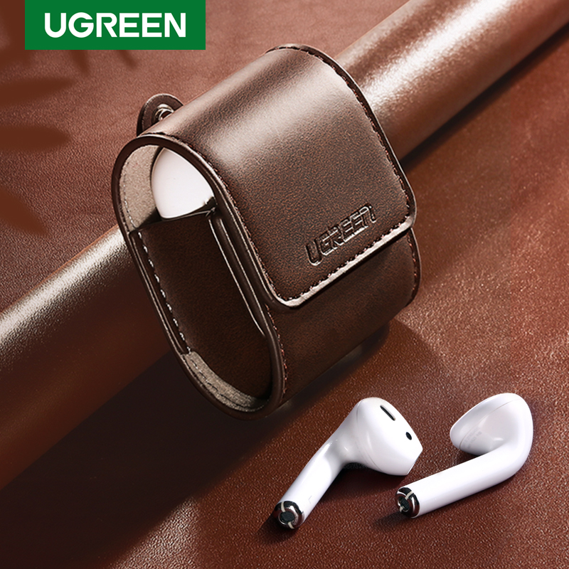 Ugreen Case For AirPods 2 1 Case Leather Earphones Accessories Anti-lost Rope Protective Headphone Cover For Apple Air Pods Case