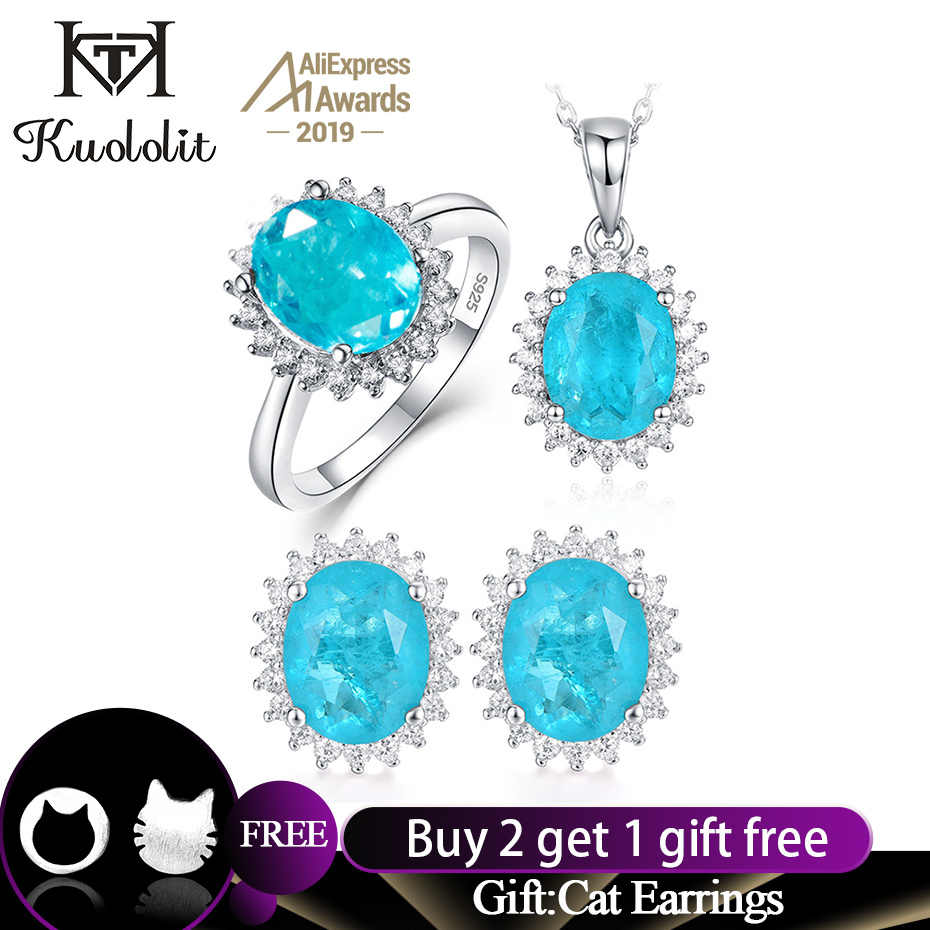 Kuololit Paraiba Tourmaline Gemstone Jewelry Set for Women Solid 925 Sterling Silver Ring Earrings Necklaces  for  Wedding Gifts