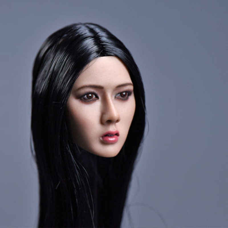"YMTOYS 1//6 Female Head Carving Long Black Hair Asian F 12/"" Phicen Action Figure"