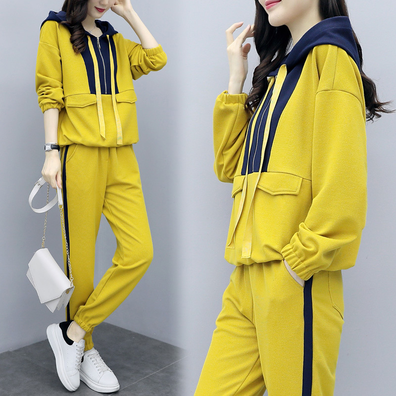 2019 Autumn New Style Fashion Hoodie Sports WOMEN'S Suit Korean-style Western Style Casual Trousers Two-Piece Set Popular Brand