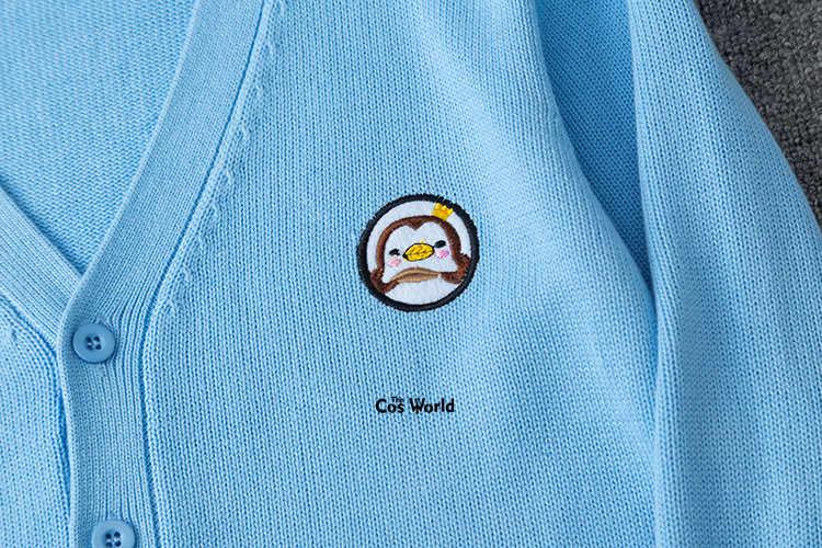 البطريق الطفل ربيع الخريف طويلة الأكمام سترة منسوجة تريكو الخامس الرقبة سترة أبلى سترة معطف ل JK زي مدرسي طالب الملابس