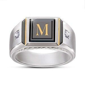 Новые модные мужские кольца с алфавитом M, простые властные кольца из черной эмали с микроинкрустацией из циркония, двухцветные мужские кол...