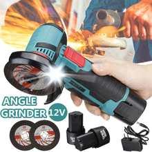 500w 12v brushless angle grinder mini sem fio ângulo moedor com duas baterias máquina de polimento diamante corte ferramenta elétrica