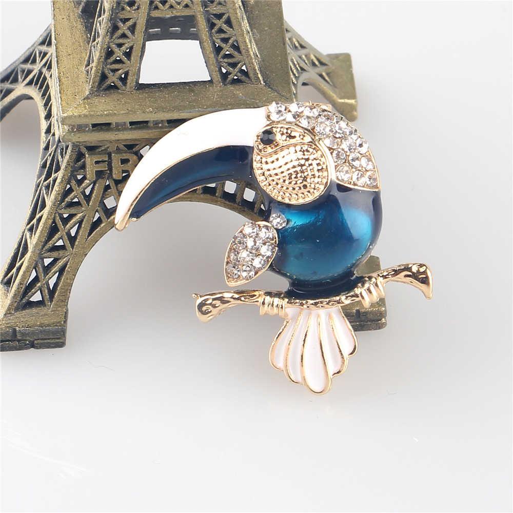 Fashion Blue Black Enamel Zircon Inlay Pelican Bird Shape Brooch For Women Men Fashion Pins Brooch Party Weddings Banquet