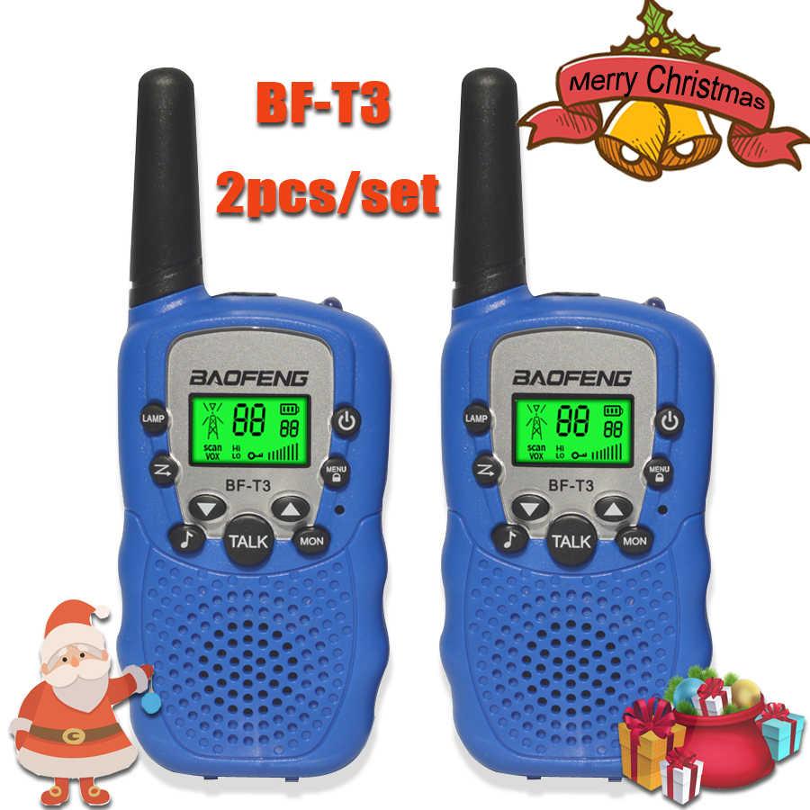 2 قطعة/المجموعة الأطفال اسلكية تخاطب الاطفال راديو لعب صغيرة baofeng BF-T3 للأطفال طفل هدية عيد ميلاد BFT3 عيد الميلاد هدايا BF T3