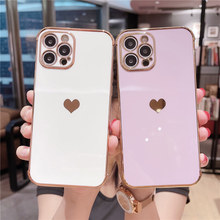 Plating Heart Phone Case For iPhone 12 11 Pro Max X XR XS Max 12 Mini 7 8 Plus Lens Protection Soft TPU Shockproof Back Cover