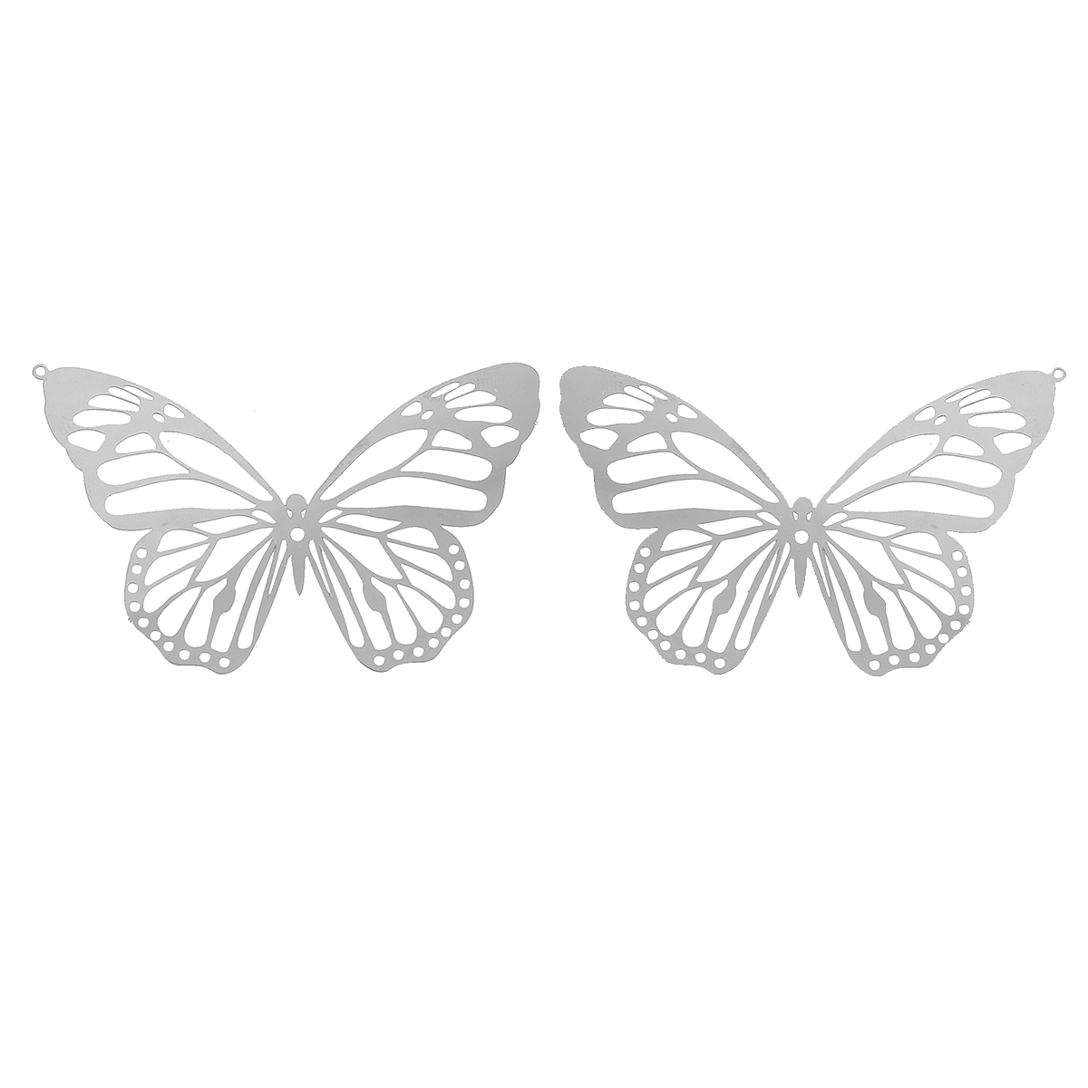 Fashion Stainless Steel Charm Pendants Butterfly Dull  Color Hollow For DIY Jewelry Making 51mm(2
