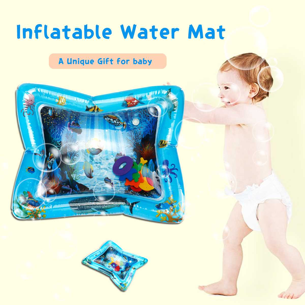 Baby Kids Water Play Mat Toys Inflatable PVC Infant Tummy Time Toddler Activity Play Water Mat For Babies